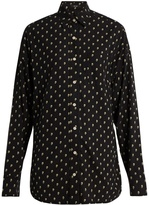 R 13 Skull-print silk shirt