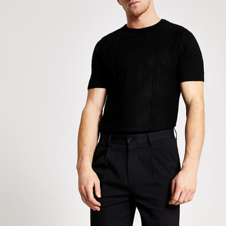 River Island Black slim fit pointelle knitted T-shirt