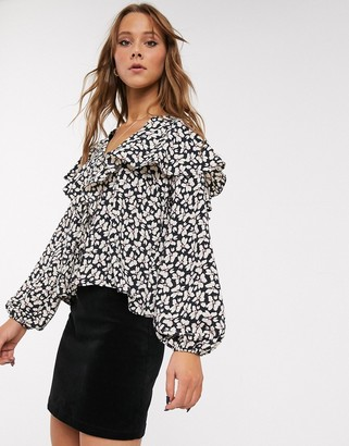 Topshop blouse with frill detail in ditsy floral print