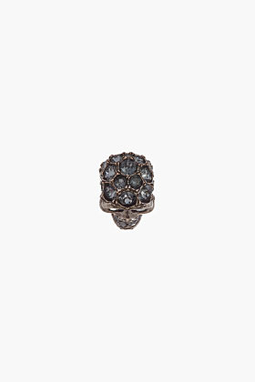 Alexander McQueen silver Night Crystal-Embellished Glory Skull ring