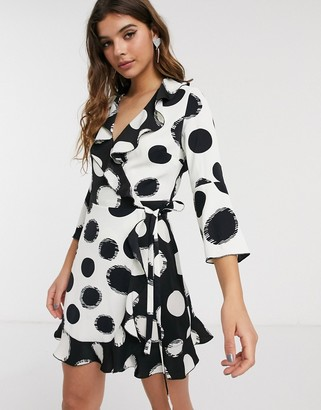 Outrageous Fortune ruffle wrap dress with fluted sleeve in contrast overscale polka