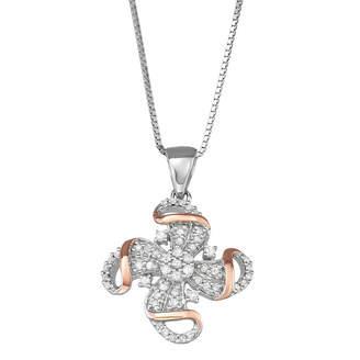 Silver Cross Fine Jewelry Womens 1/4 CT. T.W. Genuine White Diamond Sterling Pendant Necklace