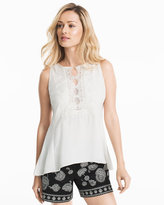 White House Black Market White Lace Embroidered Shell Top
