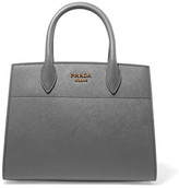 Prada Bibliothèque Textured-leather Tote - Gray