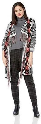 One World OneWorld Women's Plus Size Aztec Print Fringe Cardigan Sweater