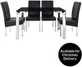 Matrix 122cm Glass Dining Table + 4 Chairs
