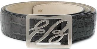 Brioni Crocodile-Embossed Logo Belt