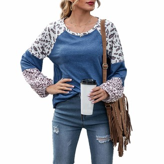 Cathrosa Womens Long Sleeve Round Neck Leopard Casual Tops Blouse T Shirt Gray