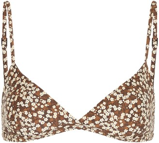 Matteau The Tri Crop Floral-print Bikini Top