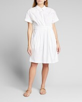 Thumbnail for your product : Lela Rose Floral Applique Poplin Shirtdress