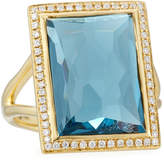 Ippolita 18k Gold Gelato Medium Blue Topaz Baguette Ring with Diamonds, Size 7