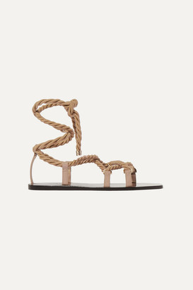 Jimmy Choo Aziza Rope And Glossed-leather Sandals - Beige