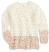 Tucker + Tate Toddler Girl's Open Stitch Colorblock Sweater