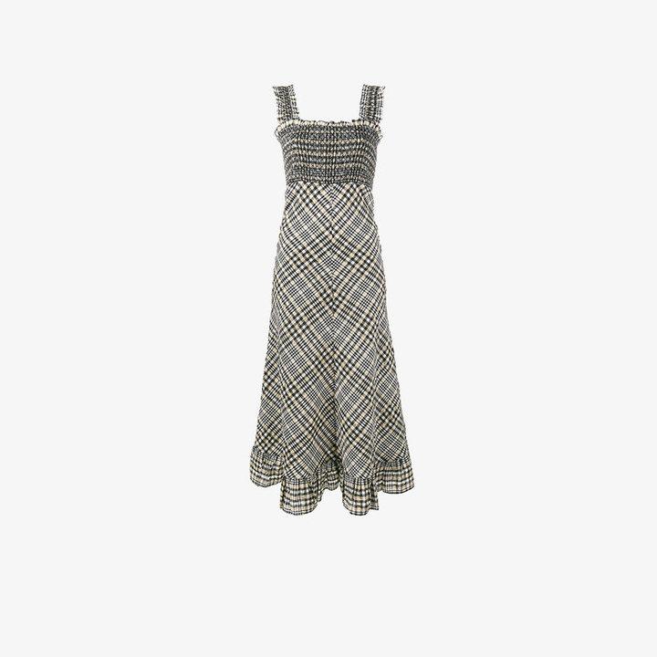 Ganni Charron Check Print Dress