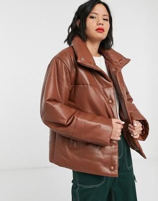 Muu Baa Muubaa leather padded jacket with funnel neck-Tan