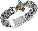 Effy Balissima by Blue Topaz, Peridot, Citrine and Amethyst Braided Bracelet in Sterling Silver and 18k Gold (3 ct. t.w.)