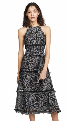 Keepsake Women's Imagine Sleeveless Halter Lace Ruffle Flared Midi Dress