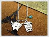 Happiness Home Dental Hygienist necklace Antique silver toothbrush/dental floss necklace