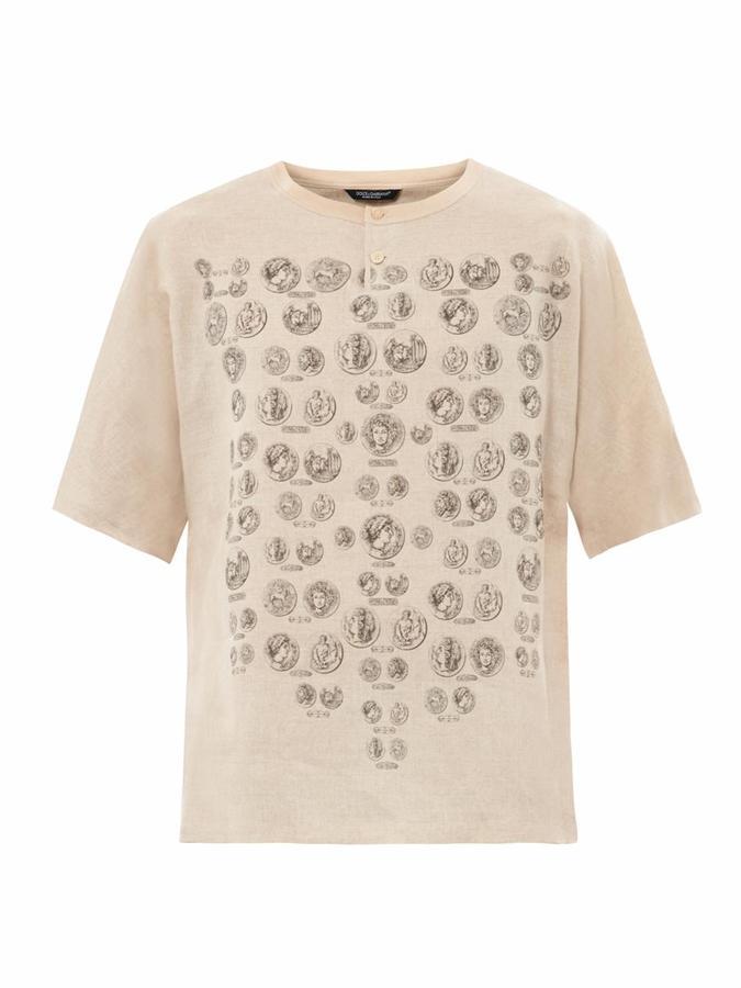 Dolce & Gabbana Coin-print linen T-shirt