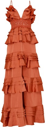 True Decadence Rust Satin Plunge Front Tiered Ruffle Maxi Dress