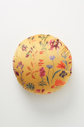 Anthropologie Maureen Velvet Pillow By in Yellow Size ROUND