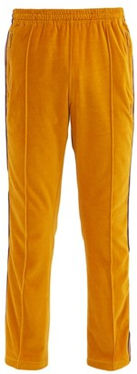 Needles Butterfly-embroidered Velour Track Pants - Yellow