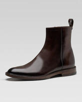Gucci Cezanne Leather Ankle Boot, Brown