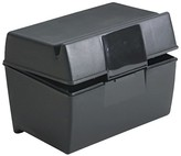 Oxford Plastic Index Card Flip Top File Box Holds 300 3 x 5 Cards, Matte Black