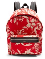 Saint Laurent City Hibiscus-print Canvas Backpack
