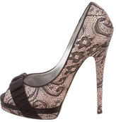 Casadei Lace Peep-Toe Pumps