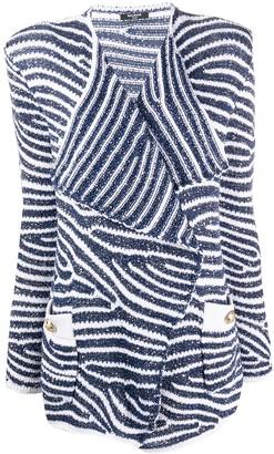 Balmain Structured Shoulders Striped Blazer