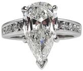 14K White Gold Pear Shape Diamond Engagement Wedding Ring