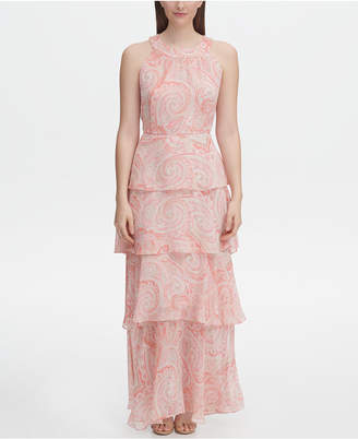 Tommy Hilfiger Printed Chiffon Tiered Maxi Dress