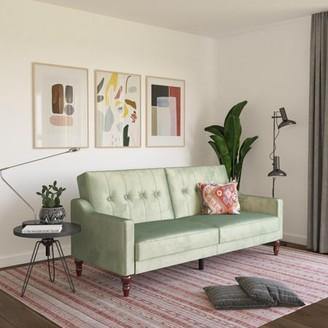 Novogratz Beatrice Coil Futon, Convertible Sofa Bed Couch, Light Teal