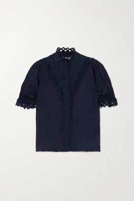 Frame Embroidered Ramie Blouse - Navy