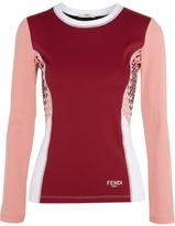 Fendi Printed Paneled Stretch-jersey Top - Claret