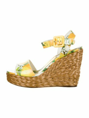 Dolce & Gabbana Patent Leather Printed Espadrilles Yellow
