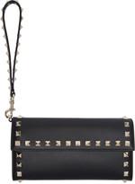Valentino Black Rockstud Continental Flap Wallet
