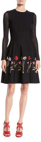 Oscar de la Renta Long-Sleeve Fit-and-Flare Flower Harvest Jacquard Knit Dress
