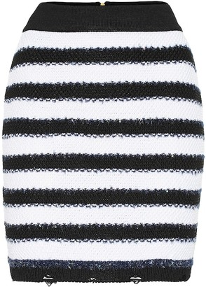 Balmain Striped knit miniskirt
