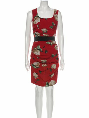Dolce & Gabbana Silk Knee-Length Dress Red
