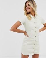 In The Style x Dani Dyer button through denim mini dress in cream
