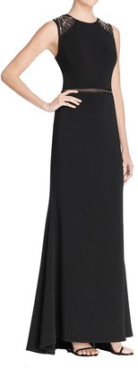 Carmen Marc Valvo Women's Beaded Illusion Shoulders and Waist Long Crepe Gown