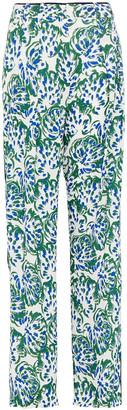 Victoria Victoria Beckham Printed Textured-crepe Wide-leg Pants