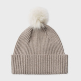 Paul Smith Women's Taupe Cashmere Bobble Hat