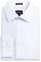 Neiman Marcus Classic-Fit Regular-Finish Square-Pattern Dress Shirt, White