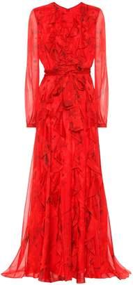 Valentino Printed silk-chiffon gown