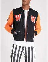 Off-White Appliqué patches cotton-blend and leather bomber jacket