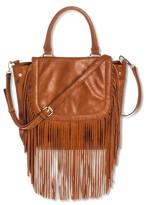 Women's Saddle Top Handle Satchel Handbag with Fringe Detail - Tan