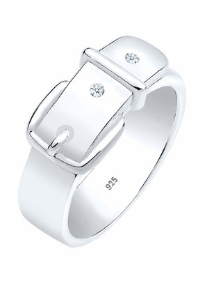 Diamore Women's 925 Sterling Silver Xilion Cut 0.04 ct White Diamond Belt Ring Size M